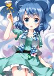 1girl :d aqua_dress arm_up bangs belt blue_background blue_eyes blue_hair blush breasts collarbone commentary_request cowboy_shot dress drill_locks eyebrows_visible_through_hair flower frills gradient gradient_background hagoromo hair_ornament hair_rings hair_stick hand_up highres holding holding_clothes holding_skirt holding_stick kaku_seiga looking_at_viewer medium_breasts medium_hair open_clothes open_mouth open_vest petticoat pink_flower puffy_short_sleeves puffy_sleeves purple_background ruu_(tksymkw) shawl short_sleeves simple_background single_drill skirt skirt_hold smile smoke solo standing stick swept_bangs touhou vest white_vest