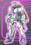 animal_ears blue_eyes clenched_hands crossover gundam horse_ears looking_ahead mecha mechanical_ears mechanization mihono_bourbon mobile_suit niiyan no_humans science_fiction solo standing umamusume v-fin