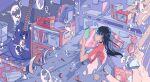 1girl bangs bed black_hair book bookshelf bubble cellphone clock fish guitar highres holding holding_phone ichigoame instrument long_hair moon_print original phone pillow room stuffed_animal stuffed_bunny stuffed_toy surreal under_covers underwater