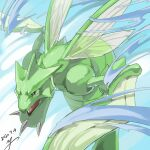 black_eyes bright_pupils commentary_request dated fangs gen_1_pokemon no_humans open_mouth pokemon pokemon_(creature) scyther signature solo tongue yu_ikedon