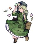 1girl boots brown_footwear camouflage camouflage_jacket camouflage_skirt card dress flat_cap green_dress green_eyes green_hair hat highres holding holding_card jacket key mefomefo petticoat pocket skirt smile solo spell_card suitcase touhou wavy_hair yamashiro_takane