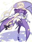 1girl akebono_kt armor armored_dress blonde_hair blue_eyes fate/grand_order fate_(series) flag full_body highres holding holding_flag jeanne_d'arc_(fate) jeanne_d'arc_(fate)_(all) long_hair ponytail purple_legwear simple_background solo standing standing_on_one_leg very_long_hair
