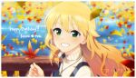 1girl bangs blonde_hair blurry blurry_background character_name dated floating_hair green_eyes grin gulim hair_between_eyes happy_birthday highres holding holding_leaf hoshii_miki idolmaster idolmaster_(classic) jewelry leaf long_hair maple_leaf pendant shiny shiny_hair smile solo sweater upper_body very_long_hair white_sweater