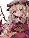 1girl absurdres ascot bangs blonde_hair bow breasts choker crystal dated eyebrows_visible_through_hair fingernails flandre_scarlet foreshortening frilled_shirt_collar frills hair_between_eyes hair_bow hat heart highres long_fingernails looking_at_viewer medium_hair mob_cap nail_polish neck_ribbon one_side_up parted_lips puffy_short_sleeves puffy_sleeves red_bow red_eyes red_nails red_ribbon red_vest ribbon ribbon_choker roche_ika sharp_fingernails short_sleeves signature simple_background small_breasts smile solo touhou upper_body vest white_background white_headwear wings yellow_neckwear