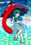 1girl bangs blue_capelet blue_eyes blue_hair blue_skirt blush capelet commentary_request full_body geta heterochromia hexagon highres holding holding_umbrella karakasa_obake long_sleeves looking_to_the_side no_socks open_mouth parasite_oyatsu parody red_eyes shirt short_hair skirt solo style_parody tatara_kogasa tongue touhou umbrella unconnected_marketeers white_shirt zun_(style)