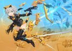 1girl blue_eyes boots copyright_name doll_joints eyebrows_visible_through_hair floating_hair grey_hair hair_between_eyes highres joints key_visual logo mecha_musume mechanical_parts model_kit official_art open_hand open_hands plamo richetta_(30ms) science_fiction shimada_fumikane short_hair solo thigh-highs thigh_boots thirty_minutes_sisters