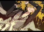 1boy black_shirt blonde_hair blue_nails cup drinking_glass eiku eyebrows_visible_through_hair eyes_visible_through_hair flower grey_vest hair_between_eyes hair_over_one_eye highres holding holding_flower hypnosis_mic izanami_hifumi jewelry letterboxed lipstick_mark long_sleeves looking_at_viewer male_focus nail_polish necklace parted_lips purple_nails red_nails ring rose shirt short_hair smile solo vest wine_glass yellow_eyes yellow_flower yellow_nails yellow_rose