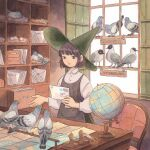 1girl bangs bird brown_hair dove dress green_eyes green_headwear hat heikala highres letter nest pigeon pinafore_dress post_office short_hair straight_hair traditional_media watercolor_(medium) witch witch_hat