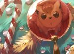 brown_eyes candy candy_cane christmas_ornaments commentary_request dated food gen_1_pokemon no_humans paws pokemon pokemon_(creature) reflection signature solo sparkle toes vulpix yu_ikedon