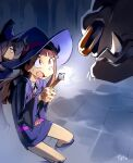1other 2girls ? bangs belt blunt_bangs boots brown_hair colorized dungeon english_commentary hair_over_one_eye hat highres kagari_atsuko knee_boots little_witch_academia long_hair luna_nova_school_uniform monster multiple_girls nose_piercing nose_ring optionaltypo piercing pink_belt red_eyes school_uniform shiny_rod size_difference solo_focus sucy_manbavaran tusks upper_teeth wand witch witch_hat you_gonna_get_raped