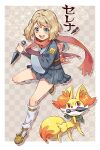 1girl :d bangs blonde_hair blue_eyes border character_name commentary_request fennekin gen_6_pokemon holding holding_weapon knees kunai open_mouth outside_border pleated_skirt pokemon pokemon_(anime) pokemon_(creature) pokemon_(game) pokemon_legends:_arceus pokemon_xy_(anime) sasairebun scarf serena_(pokemon) shoes short_hair skirt smile socks starter_pokemon teeth tongue v-shaped_eyebrows weapon white_border