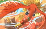 building commentary_request ecruteak_city flying from_above gen_2_pokemon ho-oh legendary_pokemon looking_at_viewer no_humans open_mouth orange_eyes pokemon pokemon_(creature) solo tongue wind yu_ikedon