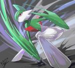 closed_mouth commentary_request dated from_below frown gallade gen_4_pokemon motion_blur pokemon pokemon_(creature) red_eyes signature solo squatting yu_ikedon