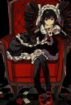 1girl absurdres armchair bangs black_hair black_legwear black_nails bonnet card celestia_ludenberg chair checkered checkered_background checkered_floor chess_piece commentary_request danganronpa:_trigger_happy_havoc danganronpa_(series) drill_hair flower frills garter_straps gothic_lolita hairband highres holding holding_card leaning_forward lolita_fashion long_hair looking_at_viewer nail_polish namiharuru necktie petals playing_card red_eyes red_flower red_footwear red_neckwear red_rose rose sitting smile solo thigh-highs tile_floor tiles twin_drills twintails