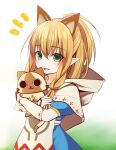 1girl :d animal_ears bangs blonde_hair blue_dress blush braid brown_capelet capelet cat_ears commentary_request dress eyebrows_visible_through_hair felyne green_eyes hair_between_eyes hair_over_shoulder haryuu_(poetto) highres hood hood_down hooded_capelet hug long_hair looking_at_viewer meowstress monster_hunter notice_lines open_mouth pointy_ears polka_dot puffy_short_sleeves puffy_sleeves short_sleeves smile twin_braids white_background