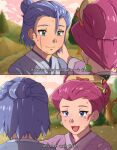1boy 1girl blue_eyes blush cruz02art crying green_eyes highres james_(pokemon) jessie_(pokemon) pokemon pokemon_(anime) team_rocket team_rocket_grunt tears watermark