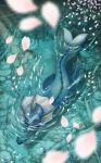 blue_eyes cherry_blossoms commentary_request from_above gen_1_pokemon highres momomo12 no_humans paws petals pokemon pokemon_(creature) ripples shiny solo swimming toes vaporeon water