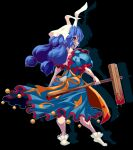 1girl ambiguous_red_liquid animal_ears apron bangs black_background blue_dress blue_hair breasts crescent_print dress holding holding_mallet kine large_breasts long_hair looking_at_viewer looking_back low_twintails machi mallet one-hour_drawing_challenge orange_apron pixel_art rabbit_ears red_eyes seiran_(touhou) simple_background solo standing star_(symbol) star_print touhou twintails white_footwear