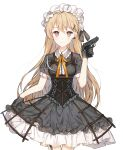 1girl blonde_hair blush breasts cyg38801 dress dress_lift girls_frontline gothic_lolita gun handgun highres light_brown_eyes lolita_fashion long_hair medium_breasts ppk_(girls_frontline) puffy_short_sleeves puffy_sleeves short_dress short_sleeves smile solo very_long_hair walther walther_ppk weapon