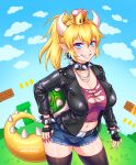 >:) 1girl artist_name black_collar black_gloves black_jacket black_legwear blonde_hair blue_eyes blush bowsette bracelet breasts burbur collar crown earrings english_commentary evil_smile eyebrows_visible_through_hair fingerless_gloves fingernails frown genderswap gloves grin hair_between_eyes high_ponytail horns jacket jewelry leather leather_gloves leather_jacket long_sleeves looking_at_viewer super_mario_bros. mixed-language_commentary nintendo open_clothes open_jacket parted_lips pointy_ears ponytail sharp_fingernails sharp_teeth smile smirk spiked_armlet spiked_bracelet spiked_collar spiked_shell spiked_tail spikes super_crown super_mario_bros. tail teeth turtle_shell watermark white_horns