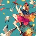 1girl akagi_shun bird birdcage cage capelet cloak flower flying hat long_sleeves orange_hair original profile red_eyes seagull skirt spyglass