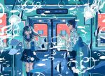 1boy 1girl absurdres angelfish backpack bag bubble fish ground_vehicle headphones highres ichigoame jellyfish ocean original scenery school_uniform serafuku surreal train underwater water