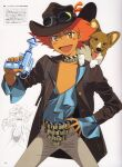 1girl :d absurdres androgynous animal_ear_fluff animal_on_shoulder bangs blue_shirt blush_stickers brown_jacket choker commission cowboy_bebop cowboy_hat cowboy_shot dark_skin dark_skinned_female dog edward_wong_hau_pepelu_tivrusky_iv ein_(cowboy_bebop) finger_on_trigger flat_chest fringe_trim goggles goggles_on_head goggles_on_headwear grey_legwear gun hair_between_eyes hand_on_hip hat highres holding holding_water_gun inset jacket kawamoto_toshihiro leather leather_jacket lineart low-cut official_art open_clothes open_jacket open_mouth open_shirt page_number pants redhead reverse_trap scan shirt short_hair simple_background smile solo spread_legs striped_choker tomboy tongue tongue_out translated water_gun weapon welsh_corgi western white_background yellow_eyes