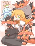 1girl :< bangs bird black_skirt blonde_hair blouse blush bow braid cat closed_mouth commentary_request cookie_(touhou) feet_out_of_frame gen_7_pokemon green_eyes hair_between_eyes hair_bow highres incineroar juliet_sleeves kirisame_marisa litten long_hair long_sleeves looking_at_another looking_to_the_side manatsu_no_yo_no_inmu mars_(cookie) open_mouth owl pokemon puffy_sleeves red_scarf rowlet scarf side_braid single_braid skirt standing sunglasses takuya_(acceed) torracat touhou usb_port white_blouse white_bow