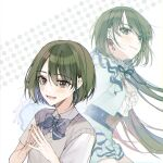 2girls arms_behind_back belt blush dress earrings ears eyebrows_visible_through_hair fingers_together green_eyes green_hair idolmaster idolmaster_shiny_colors jewelry lace-trimmed_dress lace-trimmed_skirt lace-trimmed_sleeves lace_trim long_hair long_sleeves manicure moro_(from_m0r0) multiple_girls multiple_persona nanakusa_nichika ribbon ribbon_trim school_uniform short_hair short_sleeves skirt vest