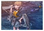 1girl aircraft aircraft_request airplane backpack bag blue_eyes brown_hair camouflage commentary_request cowboy_shot fairy_(kancolle) flight_deck grey_skirt gun hand_on_hip helicopter highres intrepid_(kancolle) kantai_collection life_vest looking_at_viewer m1903_springfield machinery miniskirt ocean original_remodel_(kantai_collection) ponytail rifle rigging short_hair skirt solo standing timmyyen water weapon