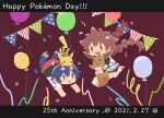 1boy 1girl :d anniversary balloon bangs bike_shorts brown_eyes brown_hair clothes_around_waist commentary_request confetti dated eevee floating_hair gen_1_pokemon gotcha! gotcha!_boy_(pokemon) gotcha!_girl_(pokemon) grey_skirt holding holding_pokemon long_hair multi-tied_hair number on_head open_mouth pants pikachu poke_ball_symbol pokemon pokemon_(creature) pokemon_on_head ribbon ritomochi shoes skirt smile sneakers