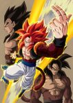 3boys bare_pecs biceps black_footwear black_hair blue_eyes dragon_ball dragon_ball_gt from_side frown fusion fusion_dance gogeta highres metamoran_vest mocky_art monkey_boy multiple_boys muscular muscular_male no_nipples pants red_fur redhead saiyan smirk son_goku spiky_hair super_saiyan super_saiyan_4 teeth vegeta white_pants