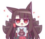 1girl akagi_(azur_lane) animal_ear_fluff animal_ears azur_lane black_kimono brown_hair brown_tail candy chibi chocolate chocolate_heart eyebrows_visible_through_hair food fox_ears heart holding holding_chocolate holding_food japanese_clothes kashimu kimono long_hair looking_at_viewer multiple_tails open_mouth red_eyes red_skirt simple_background skirt solo tail valentine white_background wide_sleeves