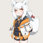 1girl animal_ear_fluff animal_ears bangs bike_shorts black_hoodie black_shorts blush brown_eyes closed_mouth collared_shirt commentary_request eyebrows_visible_through_hair fox_ears fox_girl fox_tail grey_background highres hood hood_down hoodie jacket kuro_kosyou long_hair long_sleeves off_shoulder open_clothes open_jacket orange_skirt original puffy_long_sleeves puffy_sleeves shiro_(kuro_kosyou) shirt short_eyebrows short_shorts shorts simple_background skirt sleeves_past_wrists smile solo standing tail thick_eyebrows white_hair white_jacket yellow_eyes