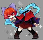 1girl :p black_footwear black_shirt bow cape disembodied_head full_body grey_background harunori_(hrnrx) high_collar highres long_sleeves looking_at_viewer purple_bow red_cape red_eyes red_skirt redhead sekibanki shirt short_hair skirt solo sparkle tongue tongue_out touhou twitter_username