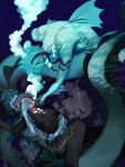 1girl 2boys asphyxiation breasts collared_shirt drowning eel_boy eyelashes fins floyd_leech highres jade_leech monster_boy multicolored_hair multiple_boys night_raven_college_uniform school_uniform shino_mame_(mame_fff) shirt streaked_hair striped striped_neckwear twisted_wonderland underwater uniform webbed_hands yuu_(twisted_wonderland)