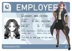 apoloniodraws business_card formal gauntlets hand_on_hip highres looking_to_the_side mole mole_under_eye original pantyhose purple_hair red_eyes scar suit wristband