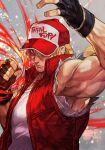 1boy baseball_cap blonde_hair blue_eyes denim fatal_fury fingerless_gloves gloves hat hungry_clicker jacket long_hair looking_at_viewer male_focus muscular ponytail simple_background smile solo terry_bogard the_king_of_fighters vest