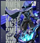 1boy absurdres blue_eyes blue_fire character_name cloak fire floating_clothes glowing glowing_eyes highres hood looking_down looking_to_the_side male_focus mask omen_(valorant) open_hand orb solo taida_no_ouji valorant