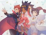 1boy 2girls arm_up belt cape closed_mouth coat commentary dark_skin dark_skinned_female diantha_(pokemon) dress english_commentary eyelashes eyeshadow hair_tie holding_hand iris_(pokemon) jacket lance_(pokemon) long_hair long_sleeves makeup mootecky multiple_girls open_mouth pants parted_lips pokemon pokemon_(game) pokemon_bw2 pokemon_hgss pokemon_masters_ex pokemon_xy redhead sandals short_hair smile spiky_hair spread_fingers sweatdrop teeth tiara tied_hair toes tongue white_coat wide_sleeves