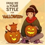 1girl absurdres bangs blunt_bangs brown_eyes brown_hair cable cat commentary english_commentary full_body green_sweater headphones highres incredibly_absurdres indian_style jack-o'-lantern julia_shii listening_to_music lofi_girl lofi_hip_hop_radio_-_beats_to_relax/study_to long_hair ponytail promotional_art pumpkin red_scarf scarf second-party_source sitting slippers smile socks solo_focus sweater zoom_layer