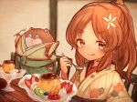 1girl :p animal bangs blush bokukawauso brown_eyes brown_hair brown_kimono chair closed_mouth clothed_animal commentary_request eyebrows_visible_through_hair floral_print flower food green_hakama hair_flower hair_ornament hakama holding holding_spoon indoors japanese_clothes kantai_collection kimono long_hair looking_at_viewer otter parted_bangs ponytail print_kimono pudding short_eyebrows signature smile spoon table thick_eyebrows tongue tongue_out white_flower wss_(nicoseiga19993411) yashiro_(kancolle)