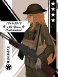 1girl absurdres blonde_hair camouflage character_name closed_mouth english_text eyebrows_visible_through_hair feet_out_of_frame girls_frontline gloves green_eyes gun hat highres holding holding_weapon long_hair looking_away m1918_bar m1918_bar_(girls_frontline) machine_gun military military_hat military_uniform rifle salty_eyes simple_background solo standing uniform weapon white_gloves