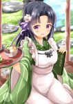 1girl :d absurdres ama_usa_an_uniform apron bangs black_hair blush bowl breasts commentary_request cosplay day eyebrows_visible_through_hair flower food frilled_apron frills fruit gochuumon_wa_usagi_desu_ka? green_kimono hair_flower hair_ornament hands_up highres holding holding_tray idolmaster idolmaster_cinderella_girls japanese_clothes kimono kiwi_slice long_hair medium_breasts mizuno_midori open_mouth outdoors parted_bangs polka_dot smile solo striped tray ujimatsu_chiya ujimatsu_chiya_(cosplay) uniform vertical-striped_kimono vertical_stripes very_long_hair violet_eyes waitress white_apron white_flower zenon_(for_achieve)