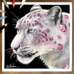 animal animal_focus black_background colored_pencil_(medium) crystal erumo_0384 highres leopard no_humans original photo_(medium) ruby_(gemstone) simple_background snow_leopard spotted_fur traditional_media