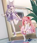 2girls :d aerial_fireworks animal_ear_fluff animal_ears bangs bare_shoulders blurry blurry_foreground blush closed_mouth curled_horns depth_of_field dress eyebrows_visible_through_hair fireworks flower hair_between_eyes hair_flower hair_intakes hair_ornament hairclip headpiece heart heart-shaped_pupils highres horns indoors long_hair long_sleeves multiple_girls mvv night no_shoes off-shoulder_dress off_shoulder open_mouth original panties panties_under_pantyhose pantyhose pink_flower pink_hair plant pointy_ears purple_dress purple_footwear purple_hair red_footwear revision shirt shoes sitting sleeveless sleeveless_shirt smile standing standing_on_one_leg symbol-shaped_pupils thigh-highs twintails underwear very_long_hair violet_eyes white_legwear white_shirt wide_sleeves window
