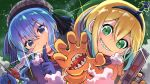 2girls amano_pikamee among_us beret blonde_hair blue_(among_us) blue_(among_us)_(cosplay) blue_hair cosplay crossover earrings eyebrows_visible_through_hair finger_to_mouth gradient_hair green_eyes green_hair gun hair_behind_ear hand_mouth handgun hat holding holding_gun holding_weapon hololive hoshimachi_suisei impostor_(among_us) impostor_(among_us)_(cosplay) jewelry looking_at_viewer multicolored_hair multiple_girls niwashidori_maki orange_(among_us) orange_(among_us)_(cosplay) pistol plaid_headwear sharp_teeth shiny short_hair side_ponytail smile spacesuit star_(symbol) star_earrings teeth virtual_youtuber voms weapon