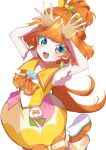 1girl :d absurdres arms_up blue_eyes bubble_skirt choker cure_papaya fingerless_gloves gloves hair_bobbles hair_ornament highres hinakano_h ichinose_minori long_hair looking_at_viewer magical_girl open_mouth orange_hair precure simple_background skirt smile solo tropical-rouge!_precure white_background yellow_choker yellow_gloves