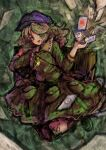 1girl 2b-ge breasts camouflage camouflage_jacket camouflage_skirt card collared_jacket green_background green_eyes green_hair highres holding holding_card jacket jumping key long_sleeves looking_at_viewer medium_breasts open_mouth purple_headwear skirt smile touhou unconnected_marketeers yamashiro_takane