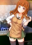 1girl apron aquaegg black_legwear cake casserole food girls_und_panzer highres holding holding_food kitchen long_hair marble ooarai_school_uniform orange_hair pot school_uniform stick stove table takebe_saori thigh-highs